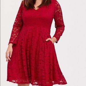 Torrid dark red v-neck skater dress